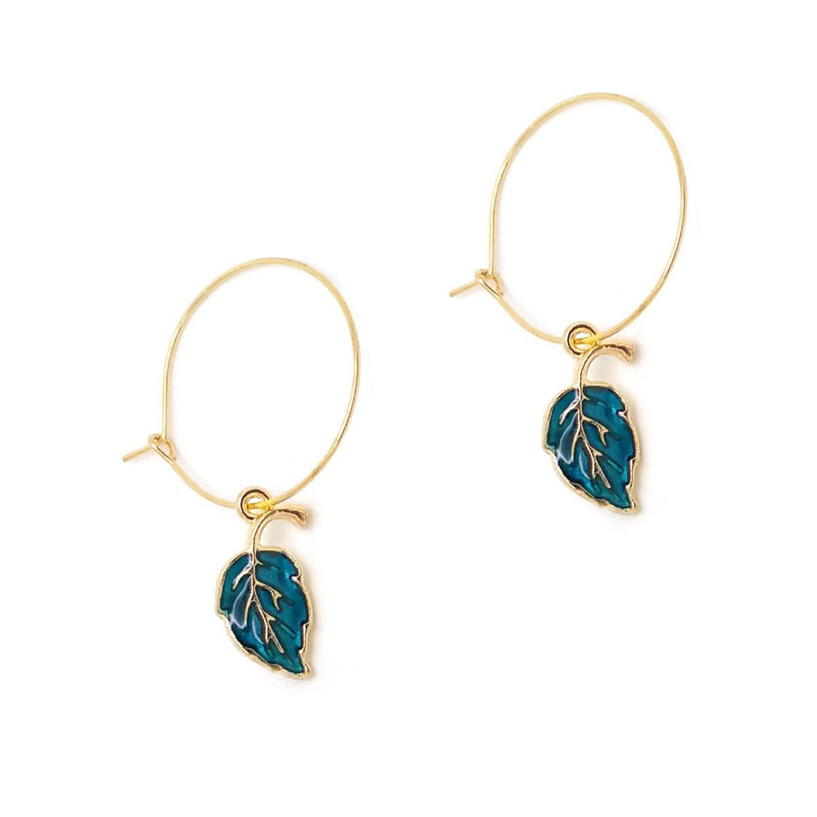 Golden Hoop Earrings with Blue-Green Enameled Leaf Charm