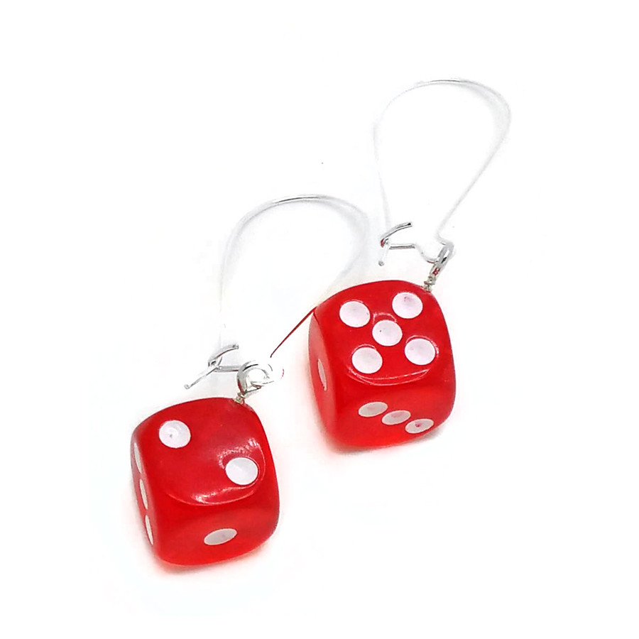 Red Translucent 6-sided Dice Drop Earrings