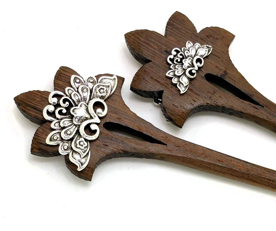 Brown Wooden Hair Sticks with Silver Lotus Designs (Pair)