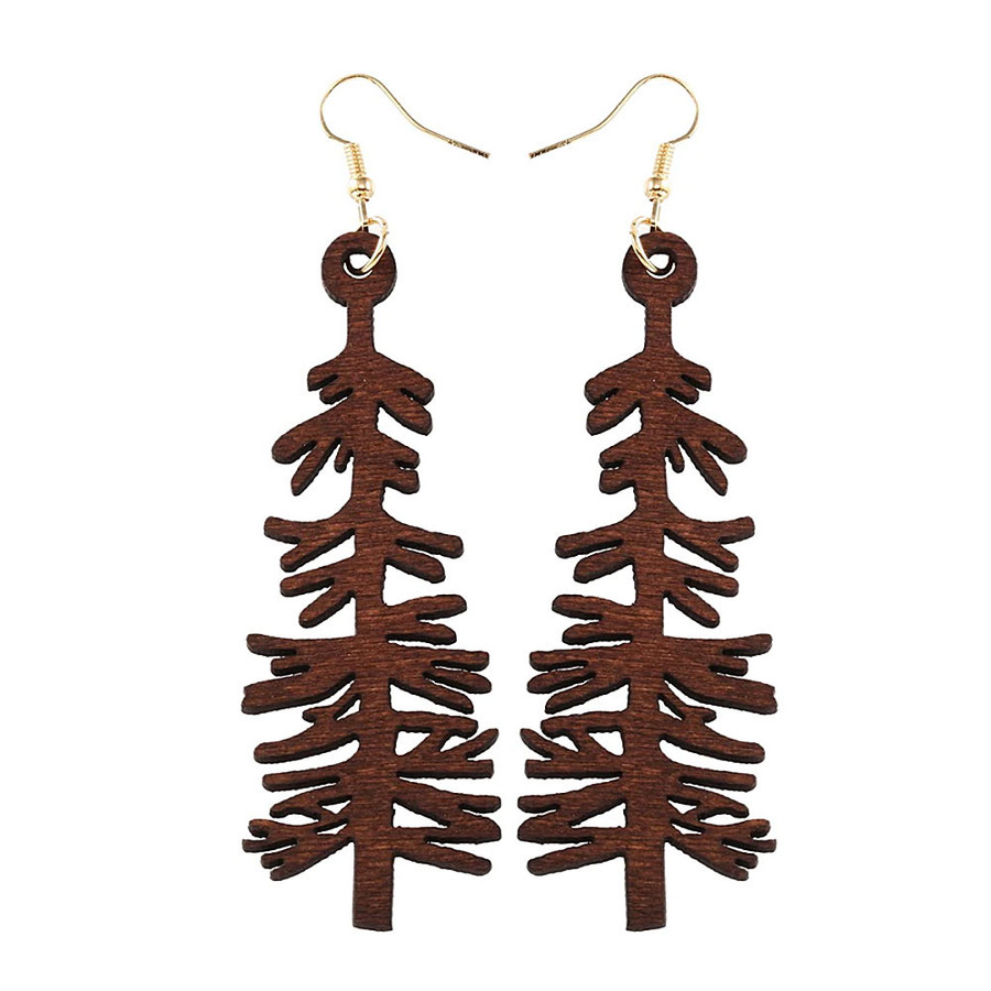 Large Lightweight Brown Redwood Tree Drop Earrings
