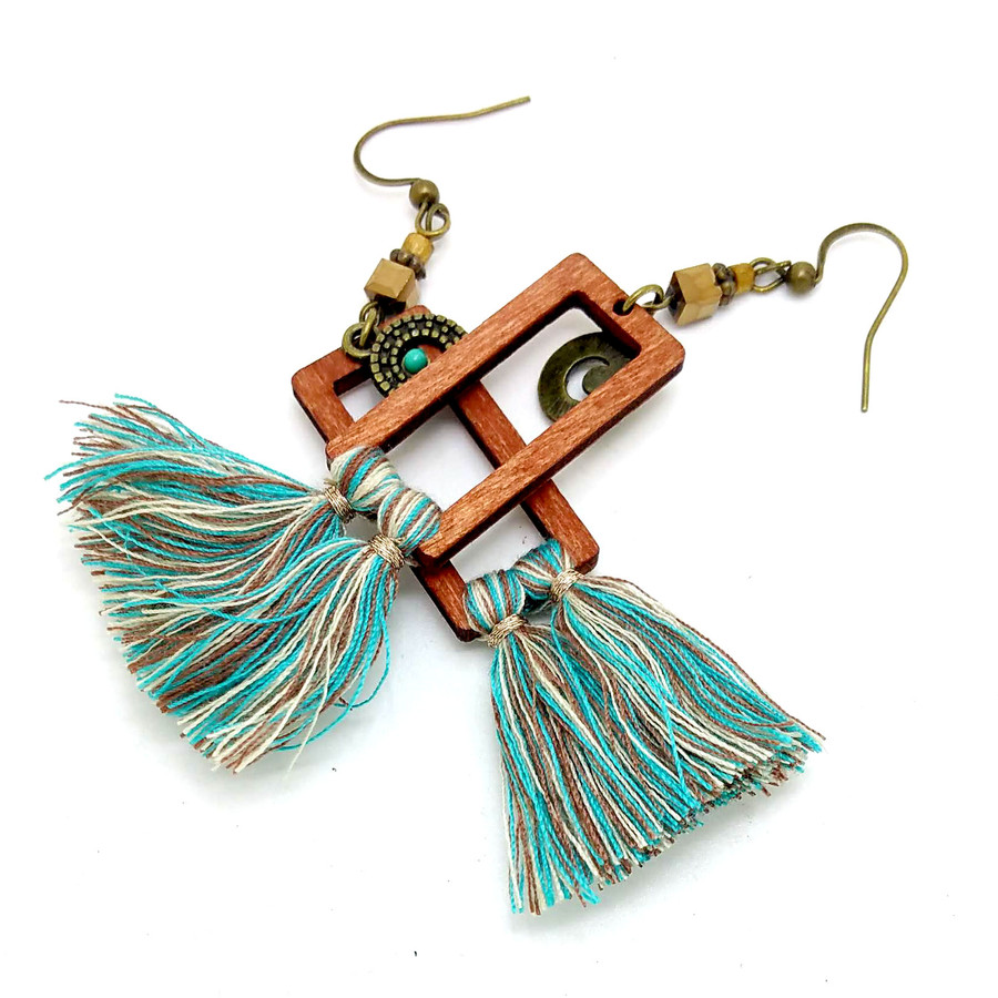 Long Lightweight Brown and Turquoise Wood and Tassel Drop Earrings