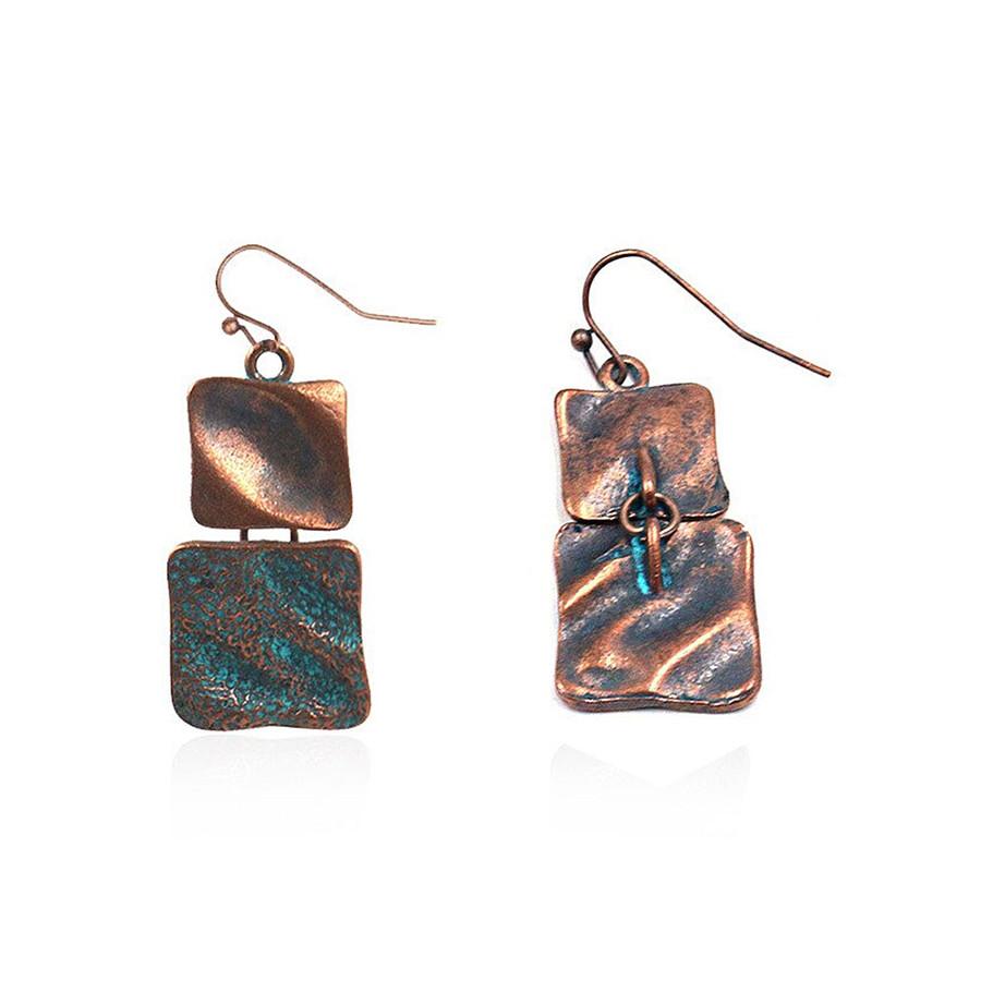 Patina Squares Drop Earrings