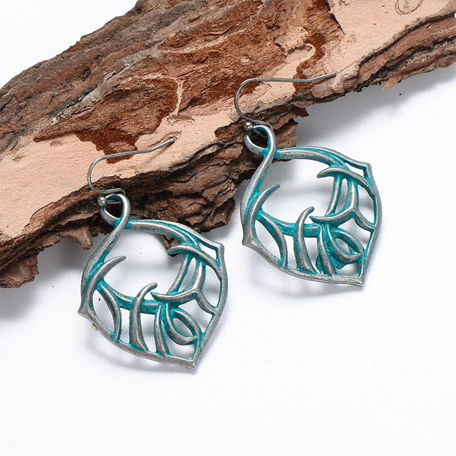 Antiqued Silver Tribal Patina Drop Earrings