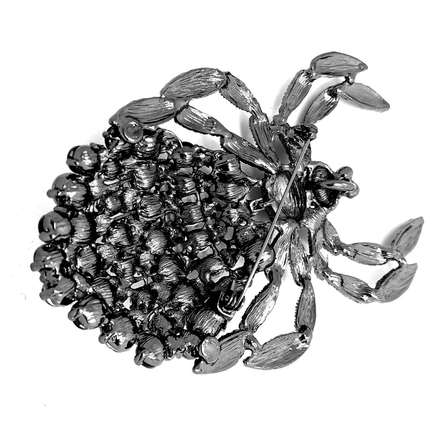 Giant Gunmetal Spider Pin with Smoky and Black Crystals
