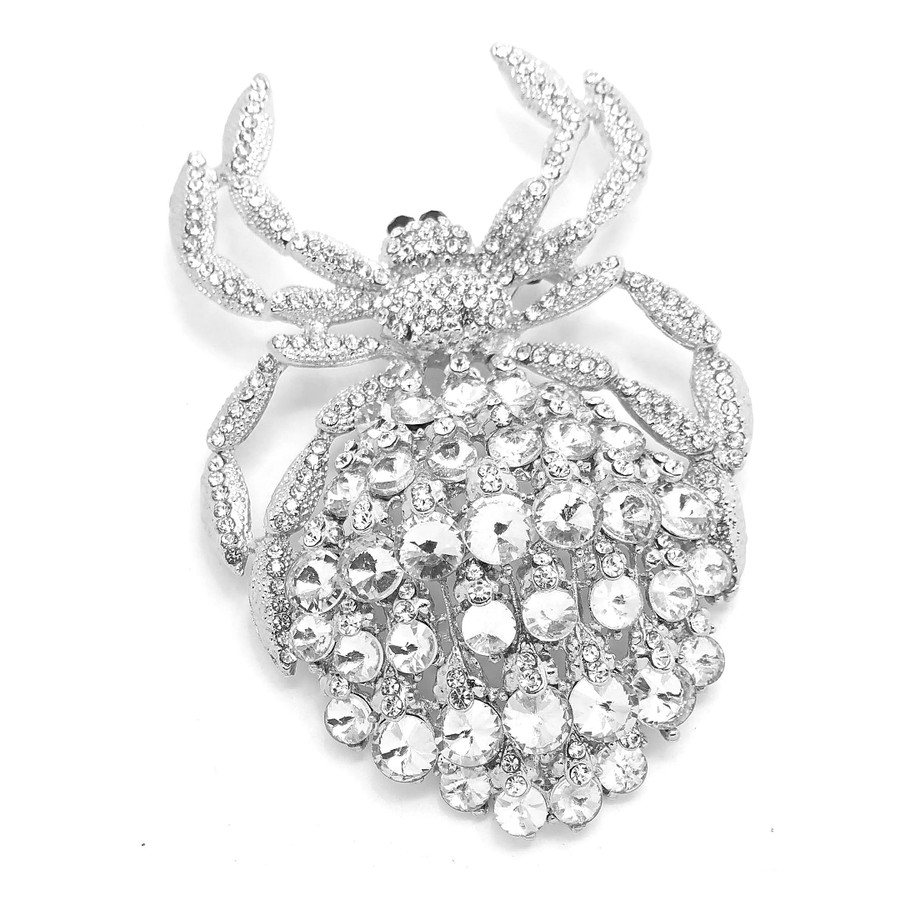 Giant Bejeweled Silver Spider Pin