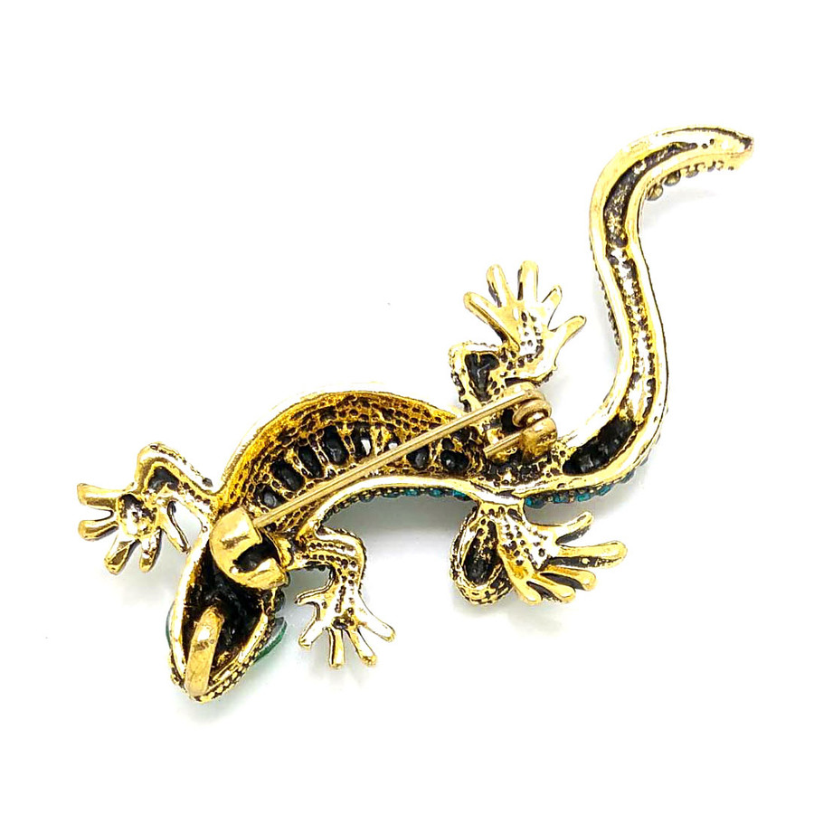 Teal Bejeweled Antiqued Golden Gecko Pin
