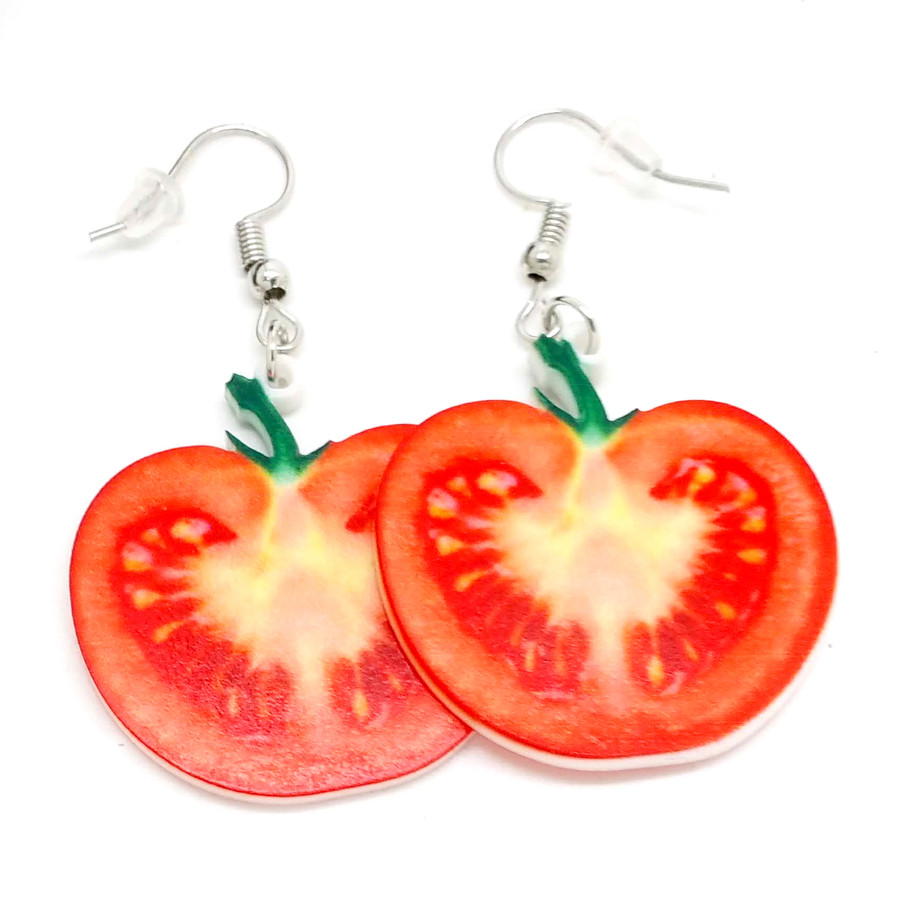 Tomato Slice Double-Sided Acrylic Drop Earrings