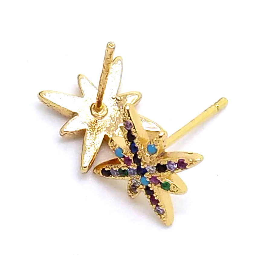 Golden Starburst Post Earrings with Multicolored Crystals