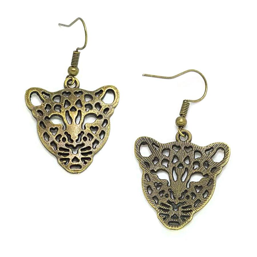 Antiqued Gold Leopard Drop Earrings