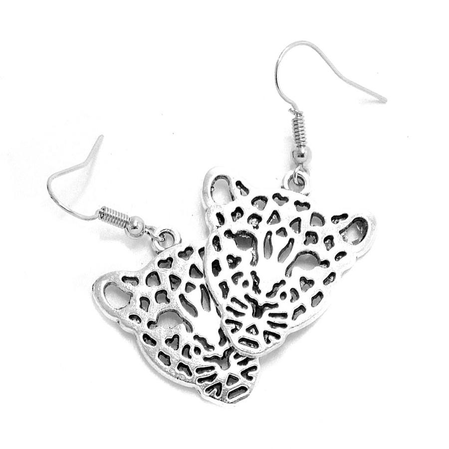 Antiqued Silver Leopard Drop Earrings