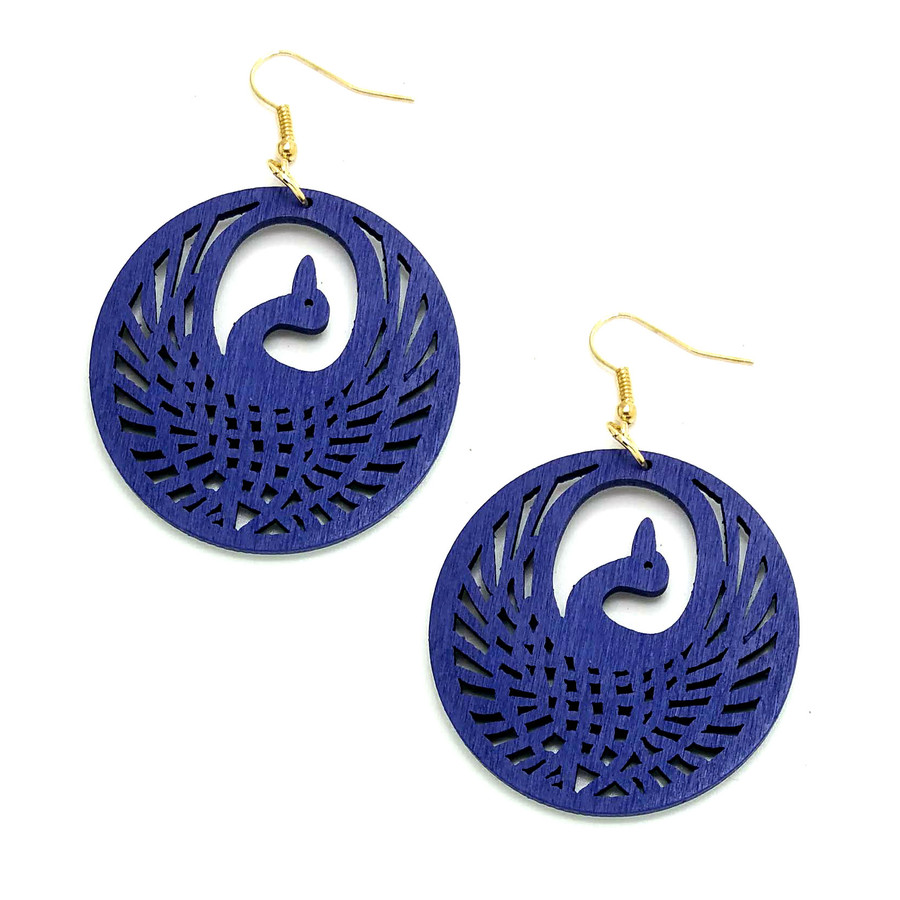 Lightweight Blue Wood Phoenix Circle Drop Earrings