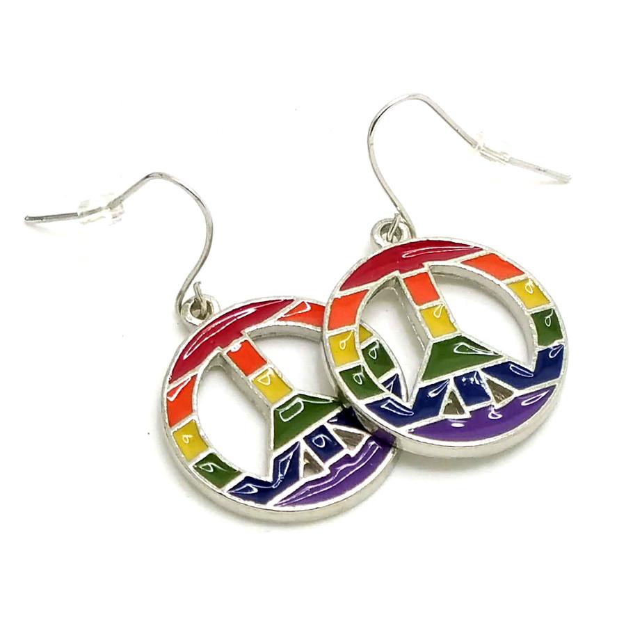 Enameled Rainbow Pride Peace Sign Drop Earrings