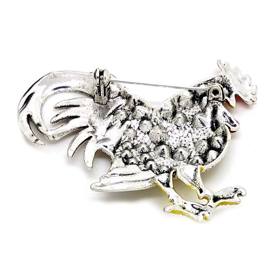 Bejeweled and Enameled Rooster Pin