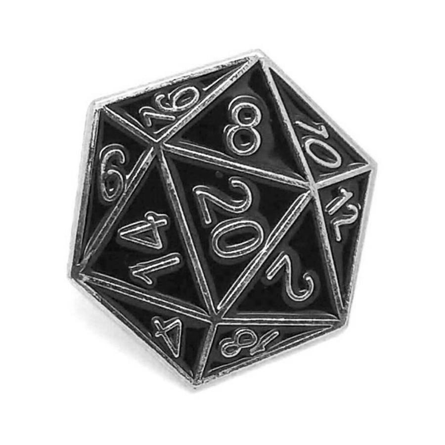 Silver & Black Enameled D20 Pin [20-Sided Die/Dice]