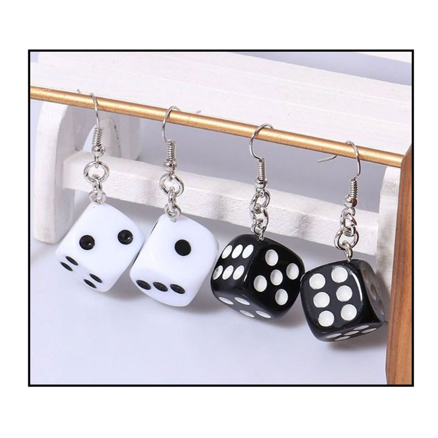 Black 6-sided Dice Drop Earrings with White Dots