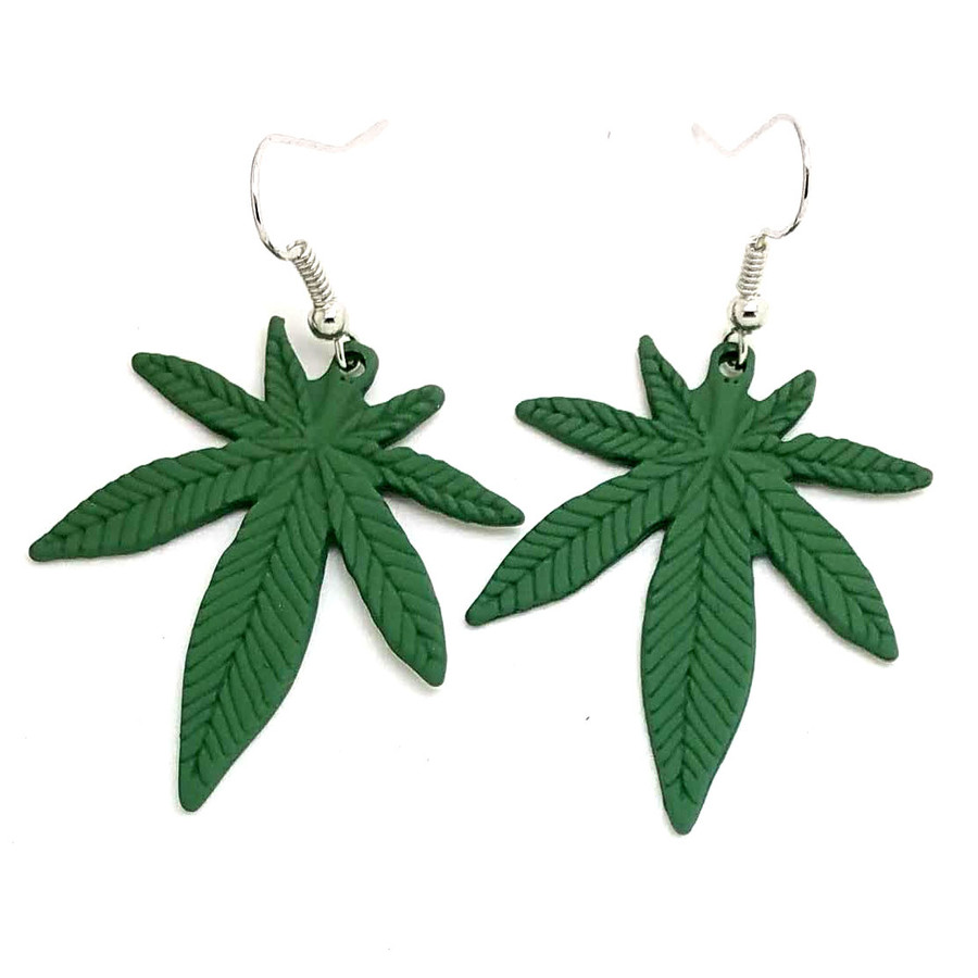 Matte Green Enameled Marijuana/Cannabis/Hemp Leaf Drop Earrings