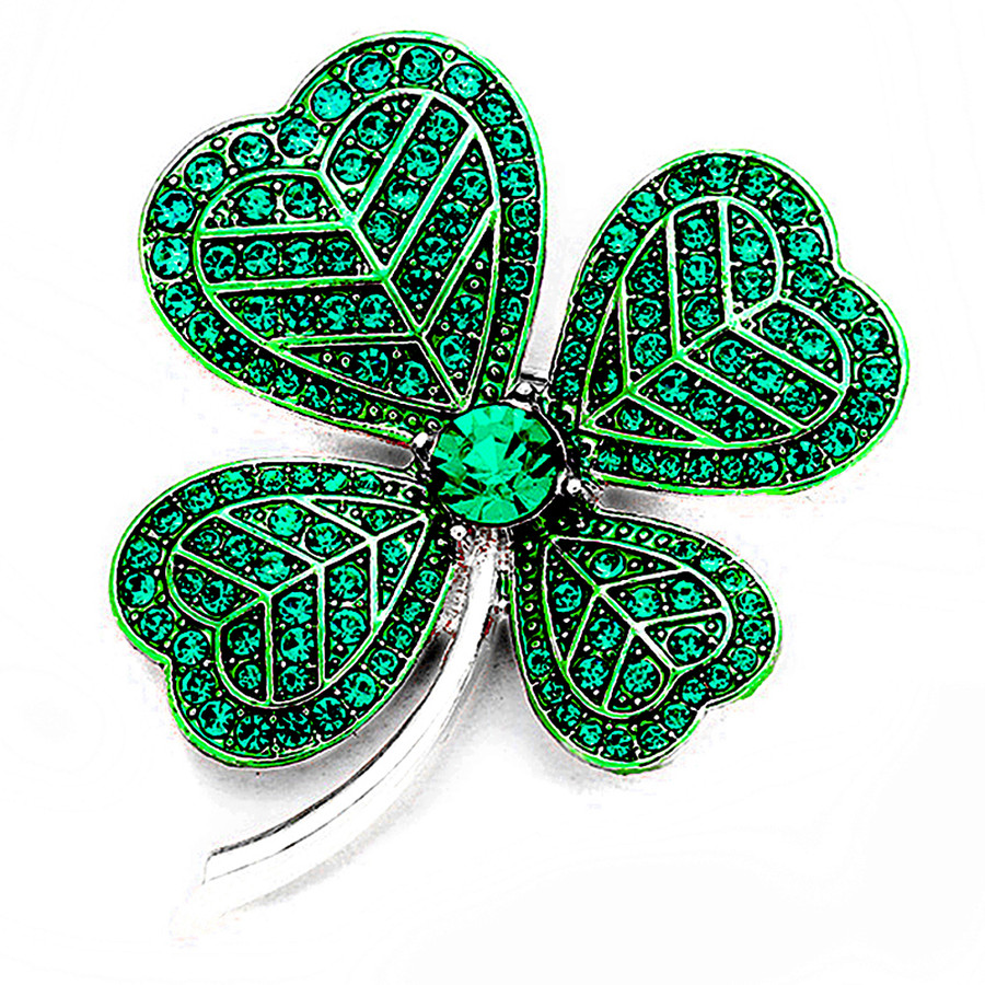 Silver Shamrock/Clover Pin with Green Crystals