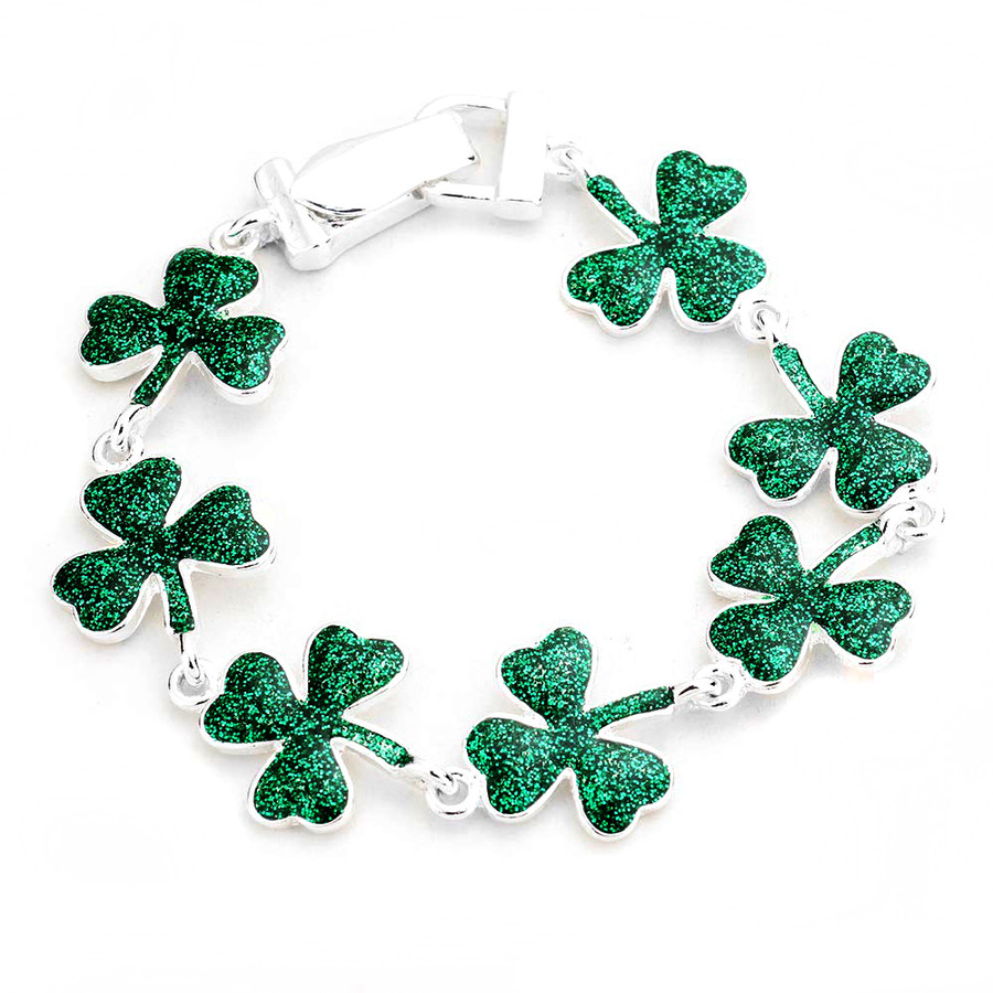 Glitter Enameled Green Shamrock/Clover Bracelet