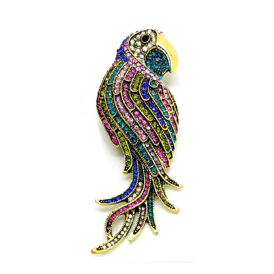 Large Multicolored Bejeweled Parrot Pin