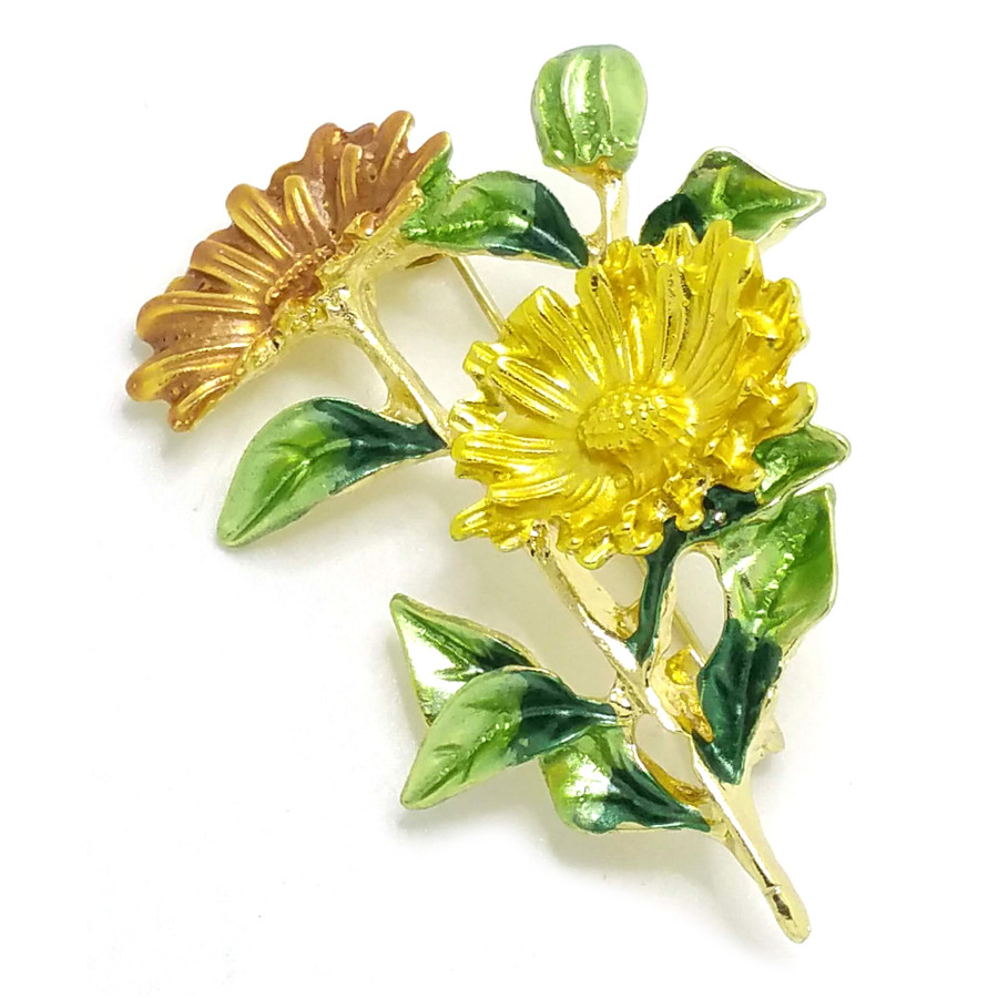 Gold and Yellow Enamel Gerbera Daisy Flower Pin