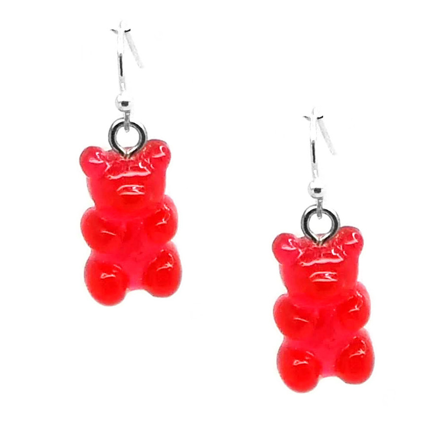Red Translucent Gummi Bear Drop Earrings