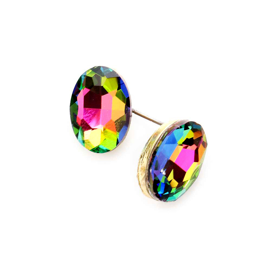 Gold and Dark Vitrail Oval Crystal Solitaire Post Earrings
