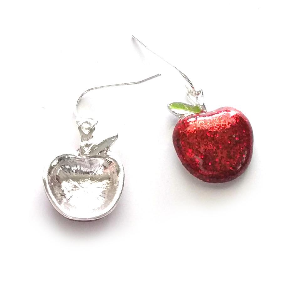 Sparkly Red Enameled Apple Drop Earrings