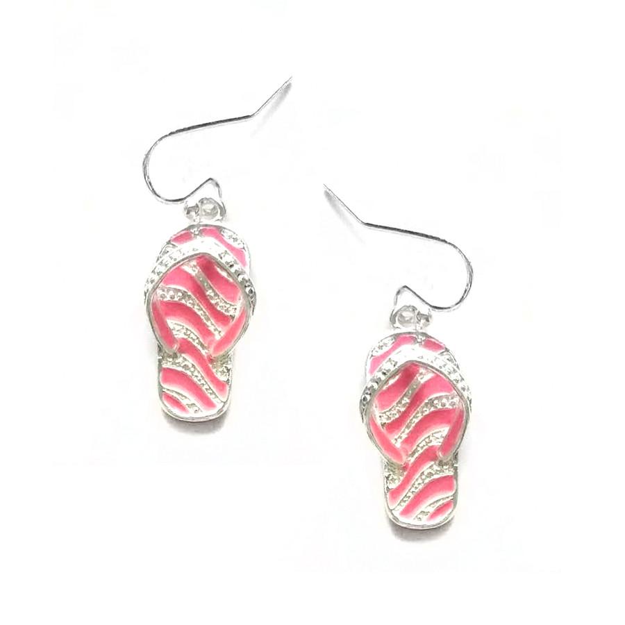 Pink Zebra/Tiger Enamel Striped Flip-flop Drop Earrings