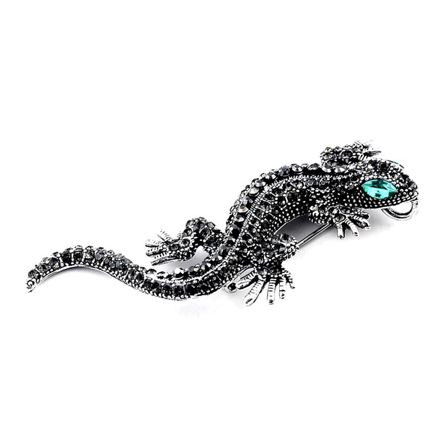 Gunmetal & Black Bejeweled Gecko Pin