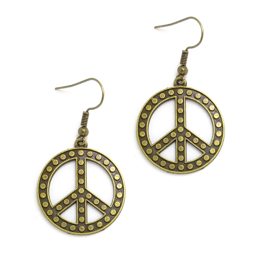 Antiqued Gold Studded Peace Sign Drop Earrings