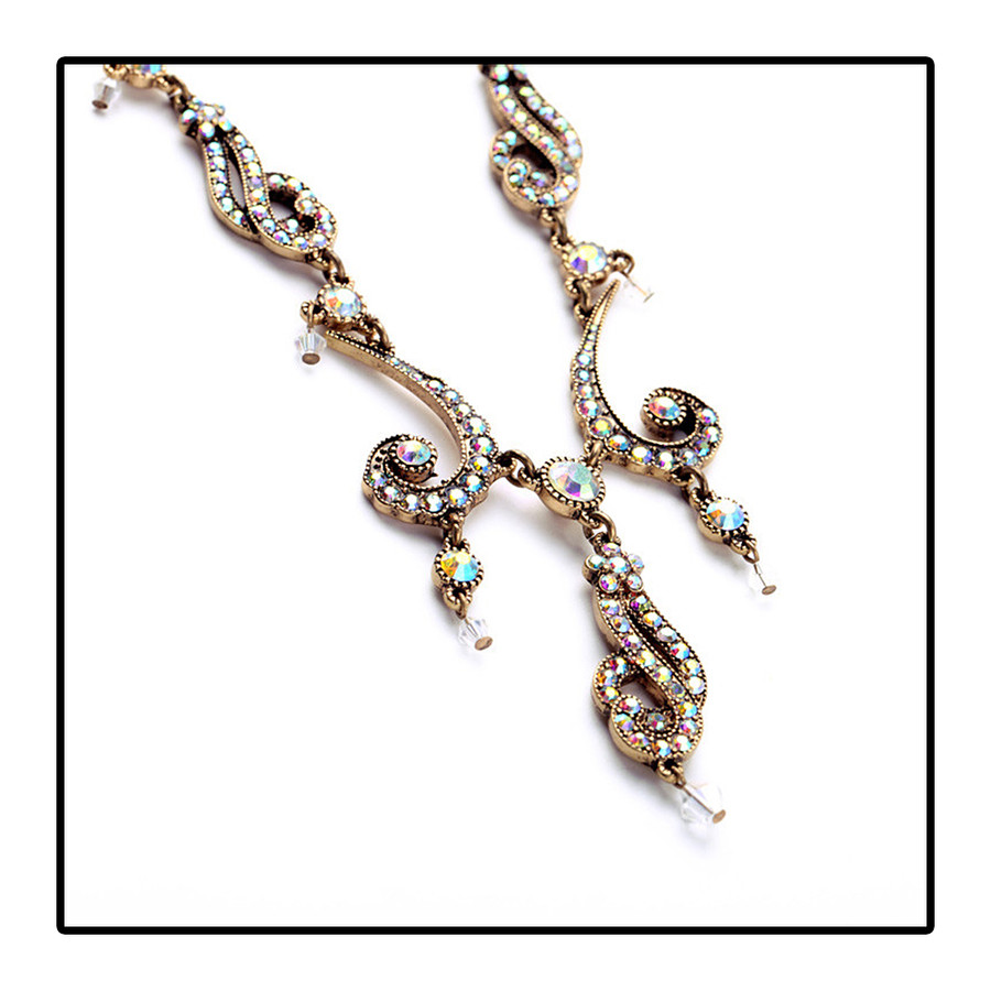 Antiqued Golden Swirl Necklace with Aurora Borealis Crystals
