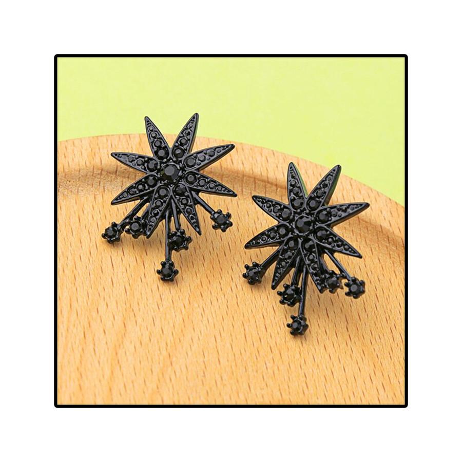 Black-on-Black Crystal Starburst Post Earrings