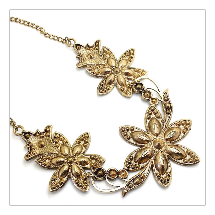 Antiqued Gold and Jet Black Crystal Floral Necklace