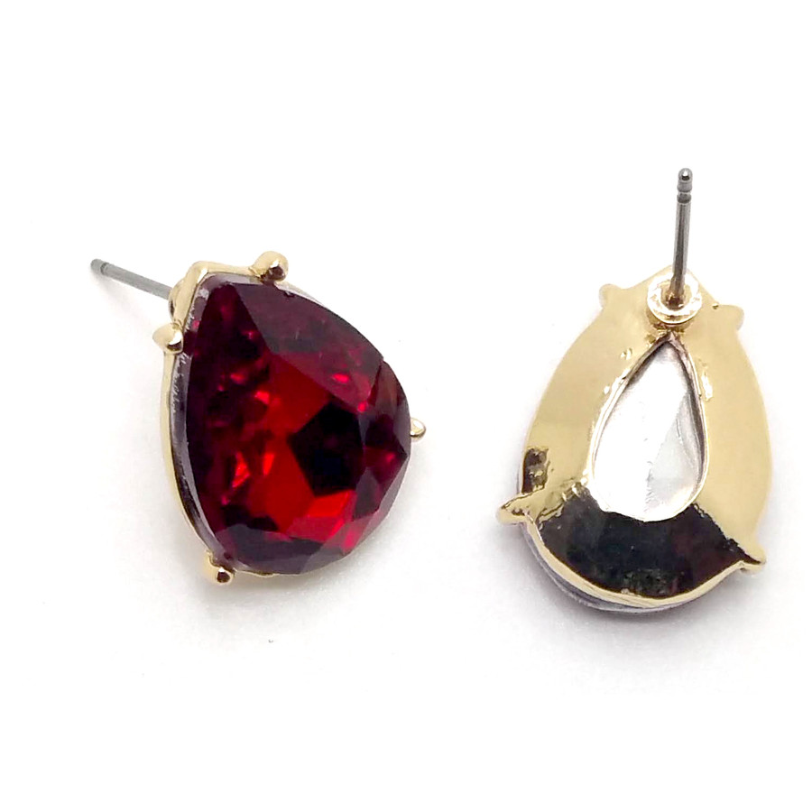 Vibrant Red Teardrop Crystal Solitaire Post Earrings