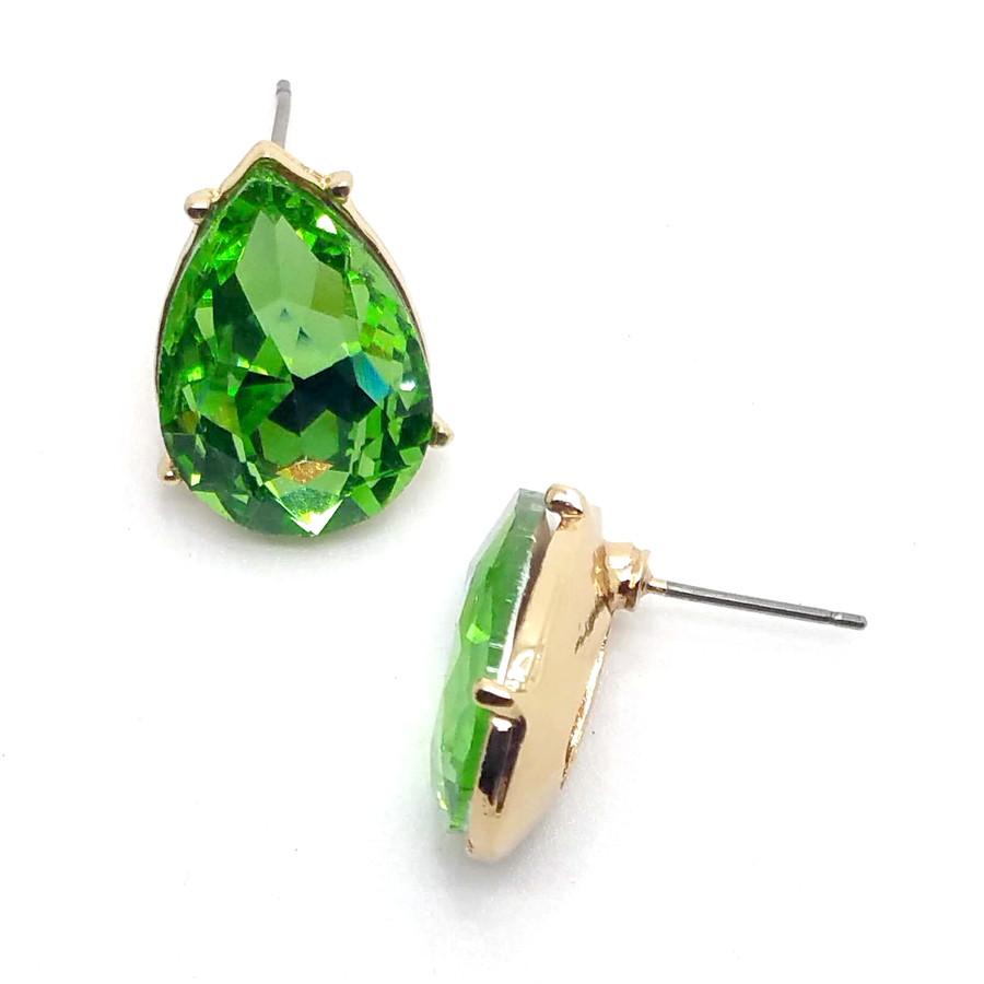 Spring Green Teardrop Crystal Solitaire Post Earrings