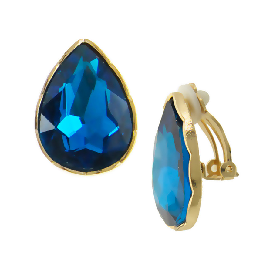 Teal Blue Teardrop Crystal Solitaire Clip-On Earrings