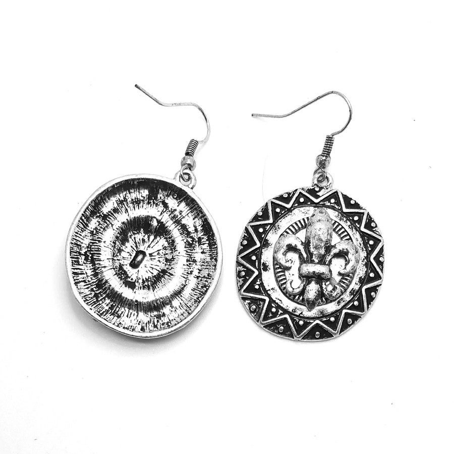 Antiqued Silver Fleur-de-Lis Circle Drop Earrings