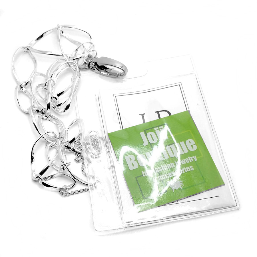 Long Silver Twisted Loop Lanyard Necklace (Plus Two Clear Pouch/ID/Badge/Card Holders)