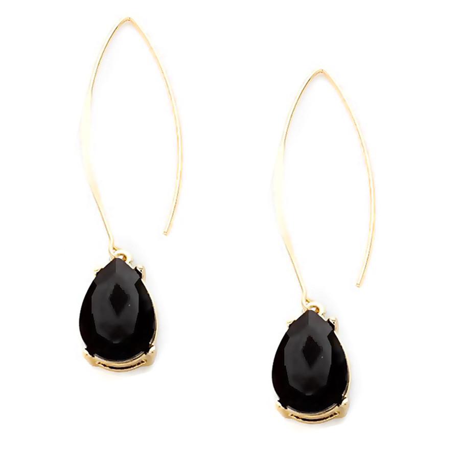 Gold and Black Teardrop Crystal Long Hook Drop Earrings