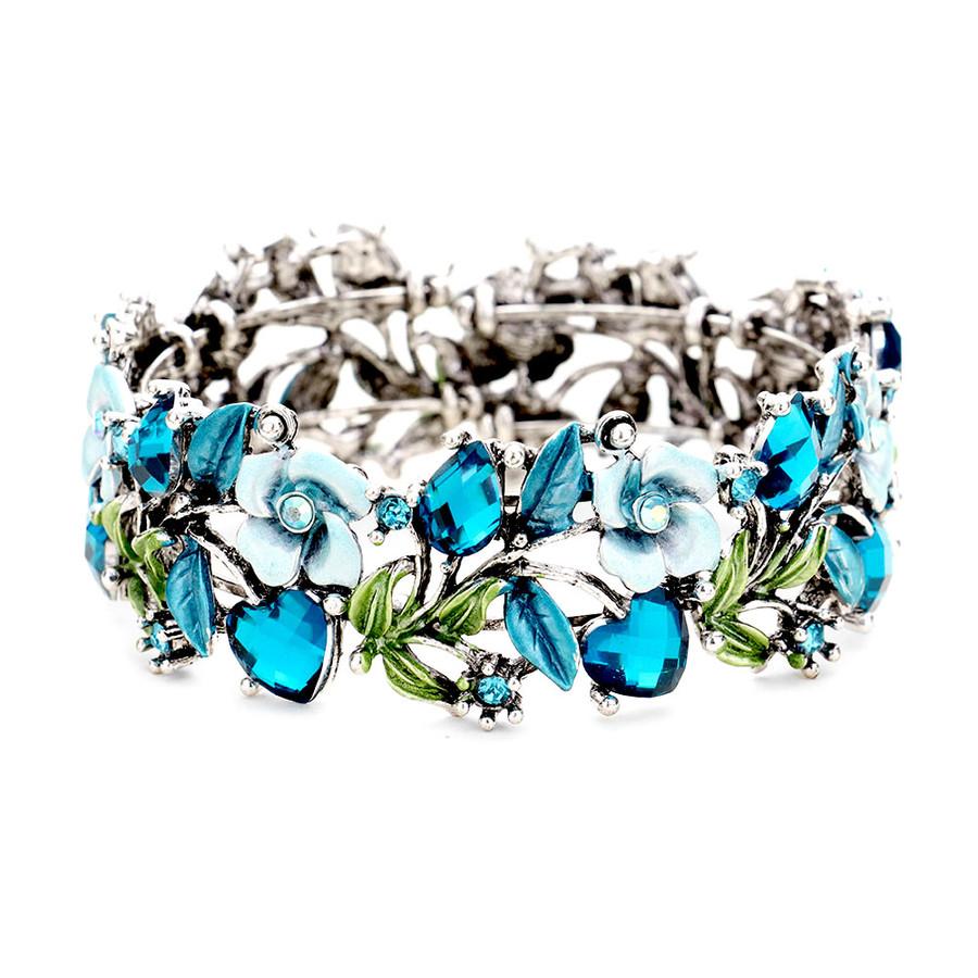 Silver & Vivid Teal Floral Bejeweled and Enameled Bangle/Bracelet