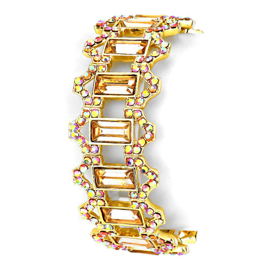Stunning Art Deco Gold and Aurora Borealis Crystal Bracelet