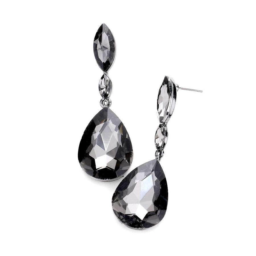 Smoky Crystal Teardrop Post-drop Earrings