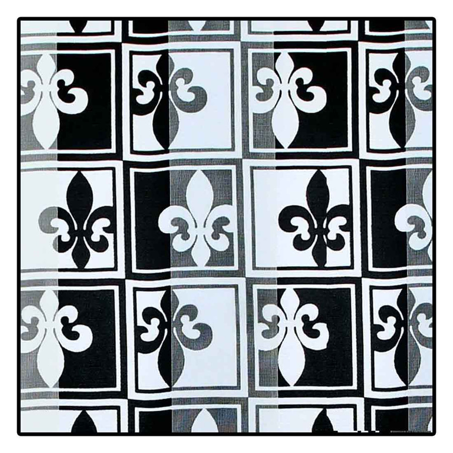 """Black and White Fleur-de-Lis"" Silk-Feel Lightweight Long Scarf"