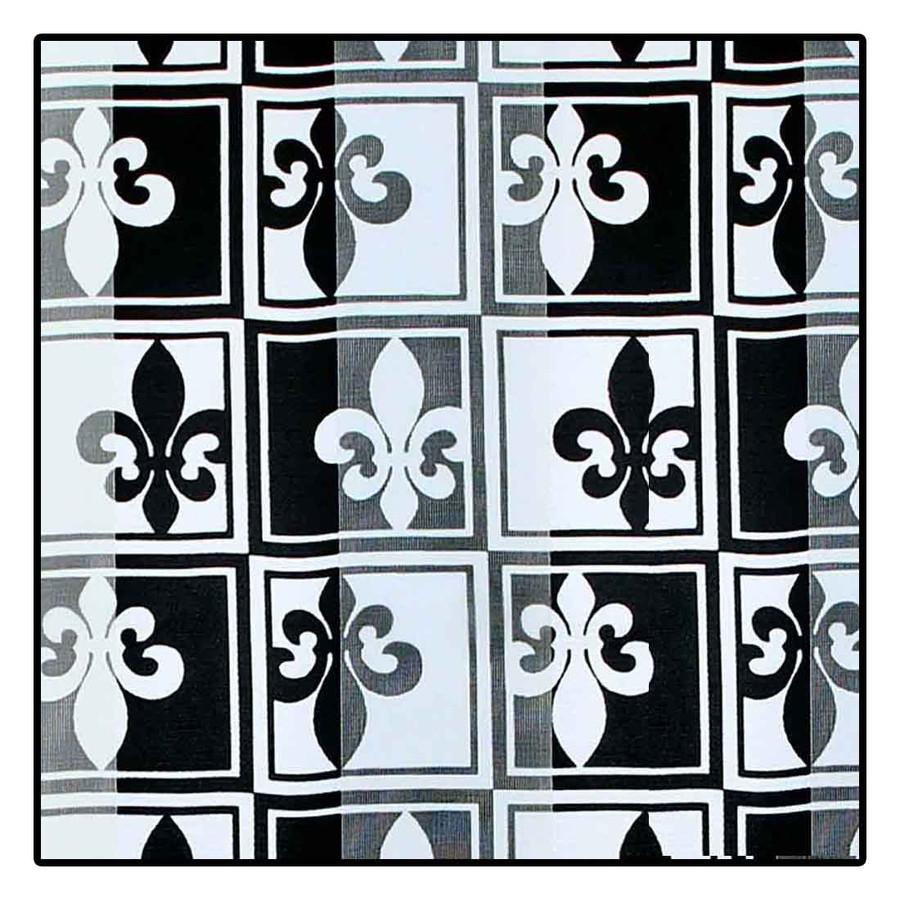 """Black and White Fleur-de-Lis"" Silk-Feel Lightweight Long Scarf"