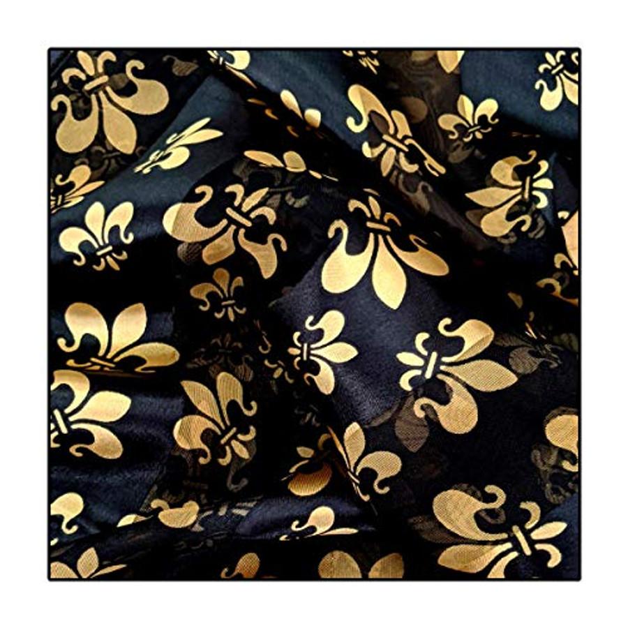 """Gold Fleur-de-Lis on Black"" Silk-Feel Lightweight Long Scarf"
