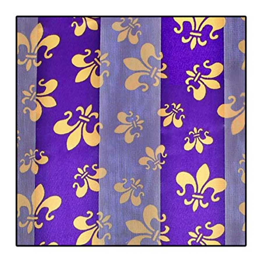 """Gold Fleur-de-Lis on Purple"" Silk-Feel Lightweight Long Scarf"