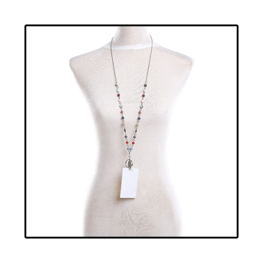 Multicolored Beaded Chain with Removable Hook: Convertible Lanyard Necklace (Plus Two Clear Pouch/ID/Badge/Card Holders)