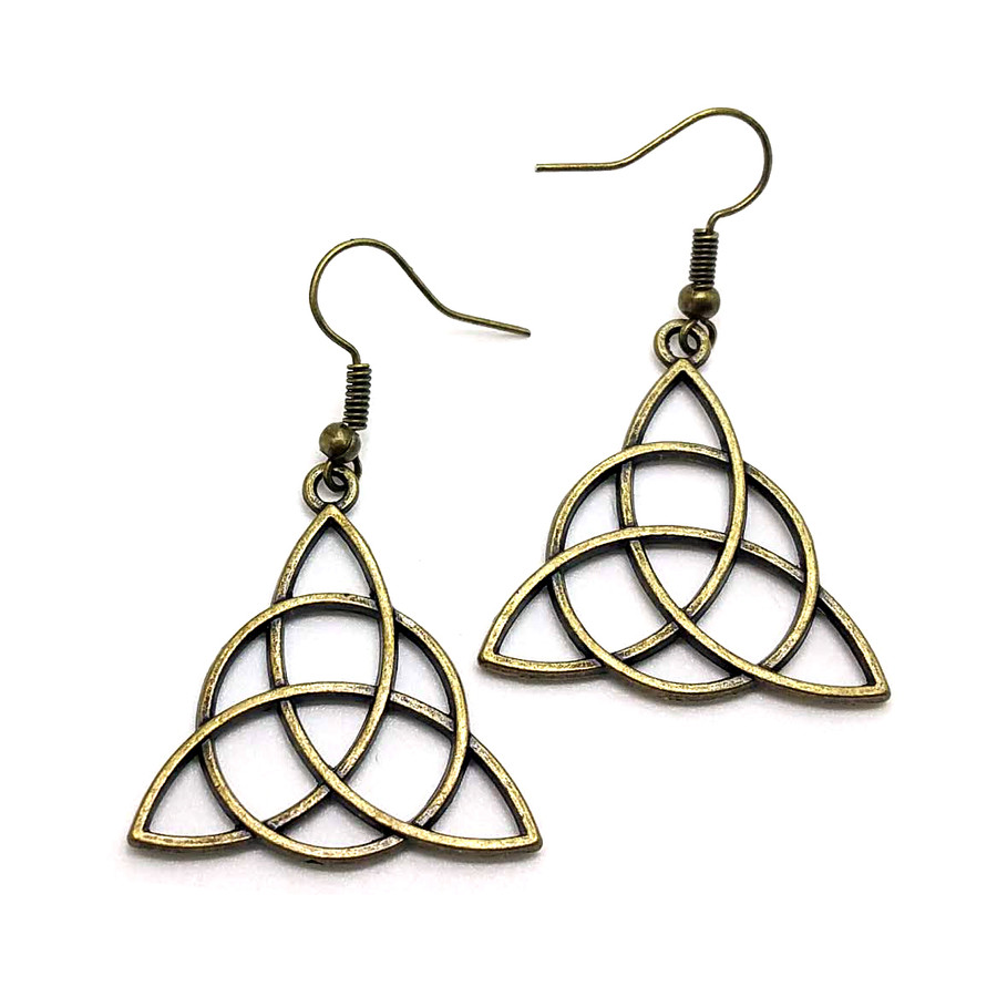 Antiqued Golden Celtic Triangle Knot Drop Earrings