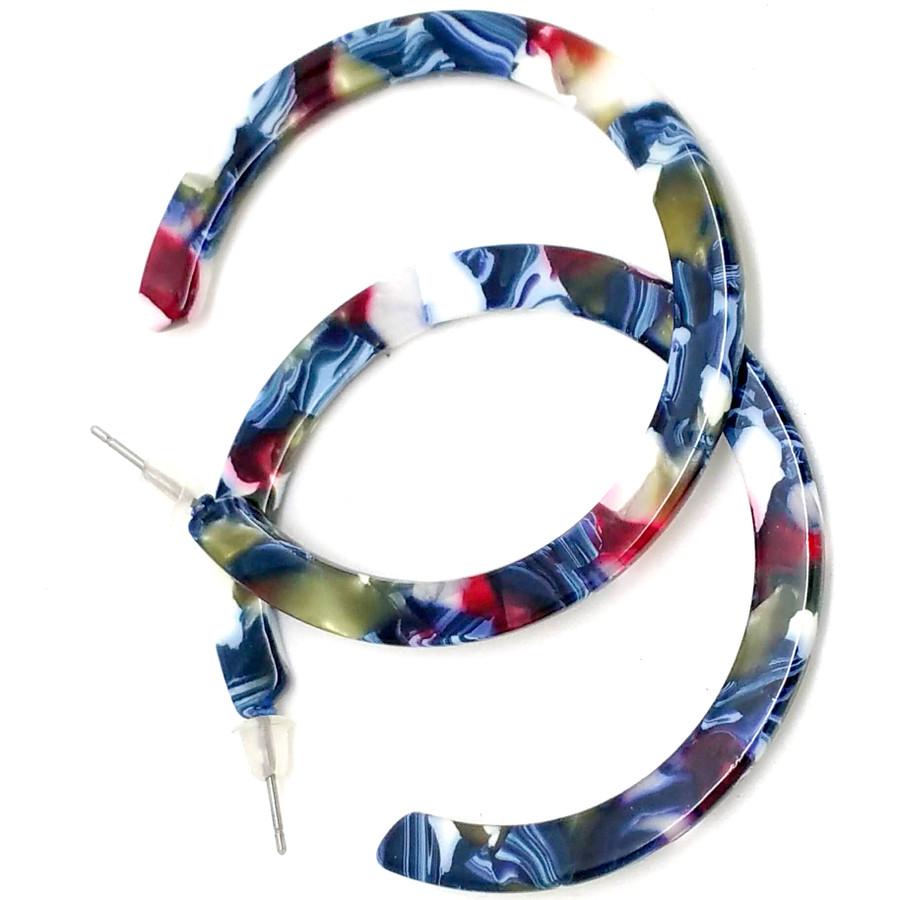 Acrylic Blue Confetti Hoop Earrings