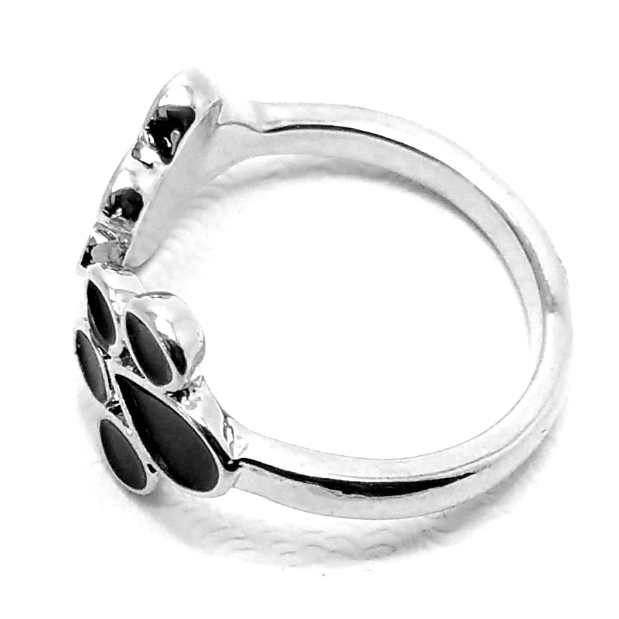 Silver and Black Enameled Paw Print Ring